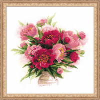 Peonies In A Vase Cross Stitch Kit
