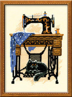 Cat With Sewing Machine Cross Stitch Kit