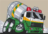 Cement Mixer Truck Cross Stitch Kit