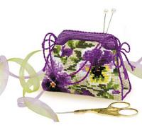 Pansy Pincushion Cross Stitch Kit
