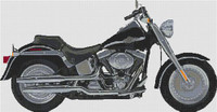 Harley Fat Boy 2003 Anniversay Model Cross Stitch Kit (Large) By Stitchtastic