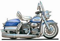 Harley Davidson Electra Glide Caricature Cross Stitch Kit