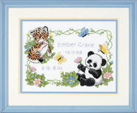 Baby Animals Birth Record Cross Stitch Kit