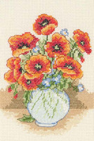 Poppy Vase Starter Cross Stitch Kit
