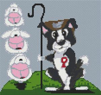 Border Collie Dog Caricature Cross Stitch Chart