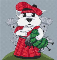 Westie Dog Caricature Cross Stitch Chart