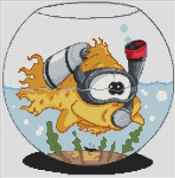 Goldfish Caricature Cross Stitch Chart
