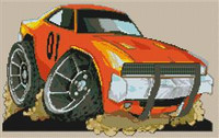 Dukes Of Hazzard (General Lee) Cross Stitch Chart