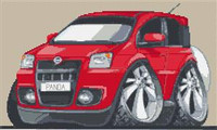 Fiat Panda Caricature Cross Stitch Chart