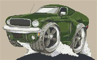 Ford Mustang Gt Bullit Car Cross Stitch Chart