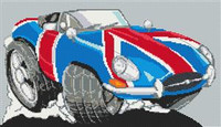 Jaguar E-Type Union Jack Cross Stitch Chart