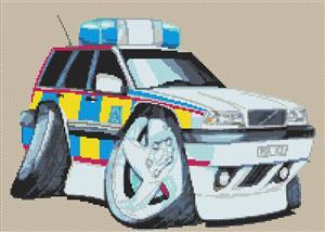 Volvo Police Car Cross Stitch Chart