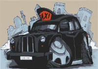 Black Cab London Taxi Cross Stitch Chart
