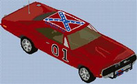 General Lee Dodge Charger Cross Stitch Chart