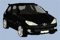 Peugeot 206 Gti Cross Stitch Chart