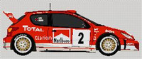 Peugeot 206 Wrc World Rally Car Cross Stitch Chart
