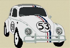 Herbie Volkswagen Beetle Cross Stitch Chart