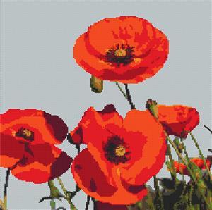Field Of Poppies Cross Stitch Chart