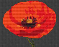 Single Poppy Flower Cross Stitch Chart