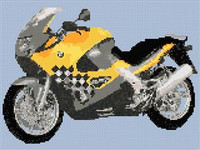 Bmw K1200 Rs Yellow Motorcycle Cross Stitch Chart