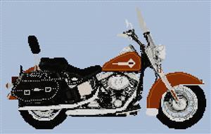 Harley Davidson Heritage Softtail Brown Cross Stitch Chart
