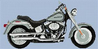 Harley Davidson Limited Edition Platinum Fatboy Cross Stitch Chart