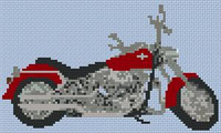 Harley Fat Boy Custom Small Cross Stitch Chart