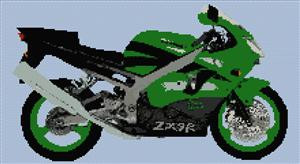 Kawasaki Ninja motorbike Red or green counted cross stitch kit or chart 14s aida