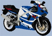 Suzuki Gsxr 750 Motorcycle Cross Stitch Chart
