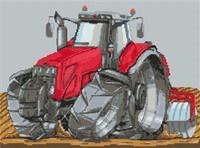 Massey Ferguson Tractor Cross Stitch Chart