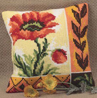 Coquelicot Nouveau Chunky Cross Stitch Cushion Kit