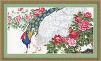 Peacock & Flowers Petit Cross Stitch Kit By Luca S