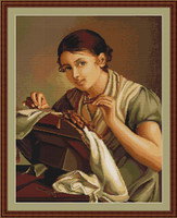 Lady Sewing Petit Cross Stitch Kit By Luca S