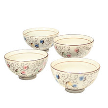 White Rice Bowls with Flowers & Vines 4.25'  From AFG