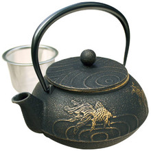 Tetsubin Iron Teapot - Black with Gold Fish  From Kotobuki