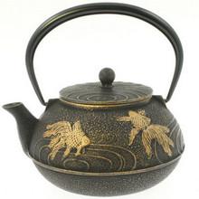 Tetsubin Large Iron Teapot - Black with Gold Fish  From Kotobuki