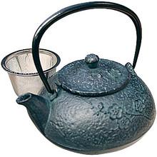 Tetsubin Nambu Iron Teapot - Green Flower  From Kotobuki