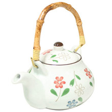 White Tea Pot with Flowers - Medium  From AFG