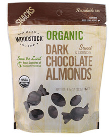 Almonds, Dark Chocolate, 8 of 6.5 OZ, Woodstock