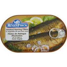 Herring, Smoked, In Oil, 16 of 6.7 OZ, Rugenfisch