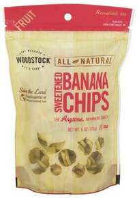 Banana Chips, Sweetened, 8 of 6 OZ, Woodstock