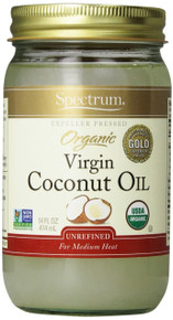 Coconut Oil, Unrefined, 12 of 14 OZ, Spectrum Naturals