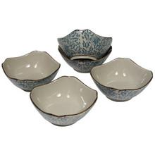 Square Blue Vine Rice Bowl Set 4.5'  From AFG