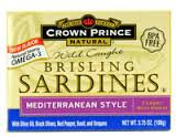 Brisling Sardines Mediterranean, 12 of 3.75 OZ, Crown Prince