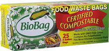 Waste Bags, 3 Gallon, 12 of 25 CT, Biobag