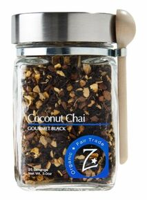 Coconut Chai Black Glass Jar 4 of 3 OZ By ZHENA`S GYPSY TEA