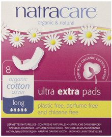 Ultra Extra Pads Long W/Wings 8 CT From NATRACARE
