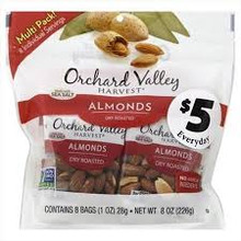 Almonds Whl Dry Rst w/SS 8 Pk 8 of 8 OZ By ORCHARD VALLEY HARVEST