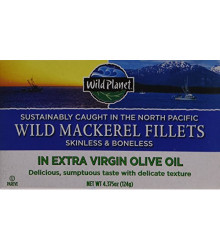 Wild Mackerel Fillets in EVOO 12 of 4.375 OZ By WILD PLANET