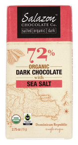 72% Dark w/Sea Salt 12 of 2.75 OZ By SALAZON CHOCOLATE CO